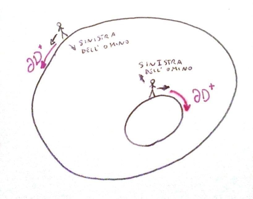 direzione positiva di percorrenza del bordo di un dominio